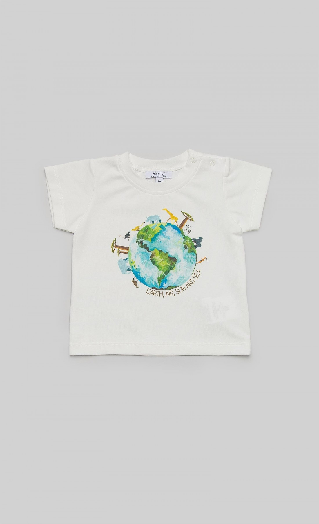"""T-shirt in jersey panna con stampa """"Earth"""""""