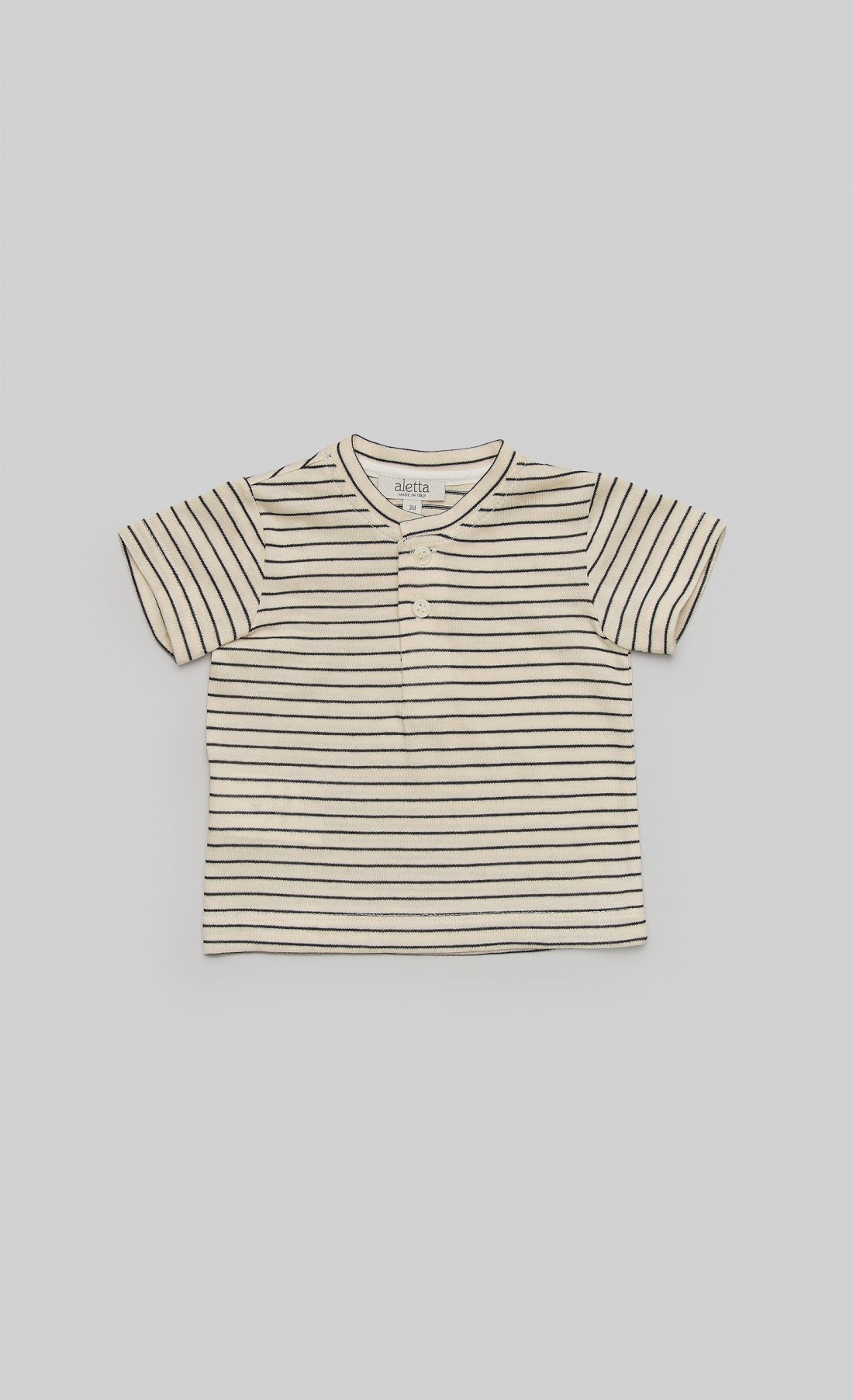 T-shirt in jersey panna con righe blu