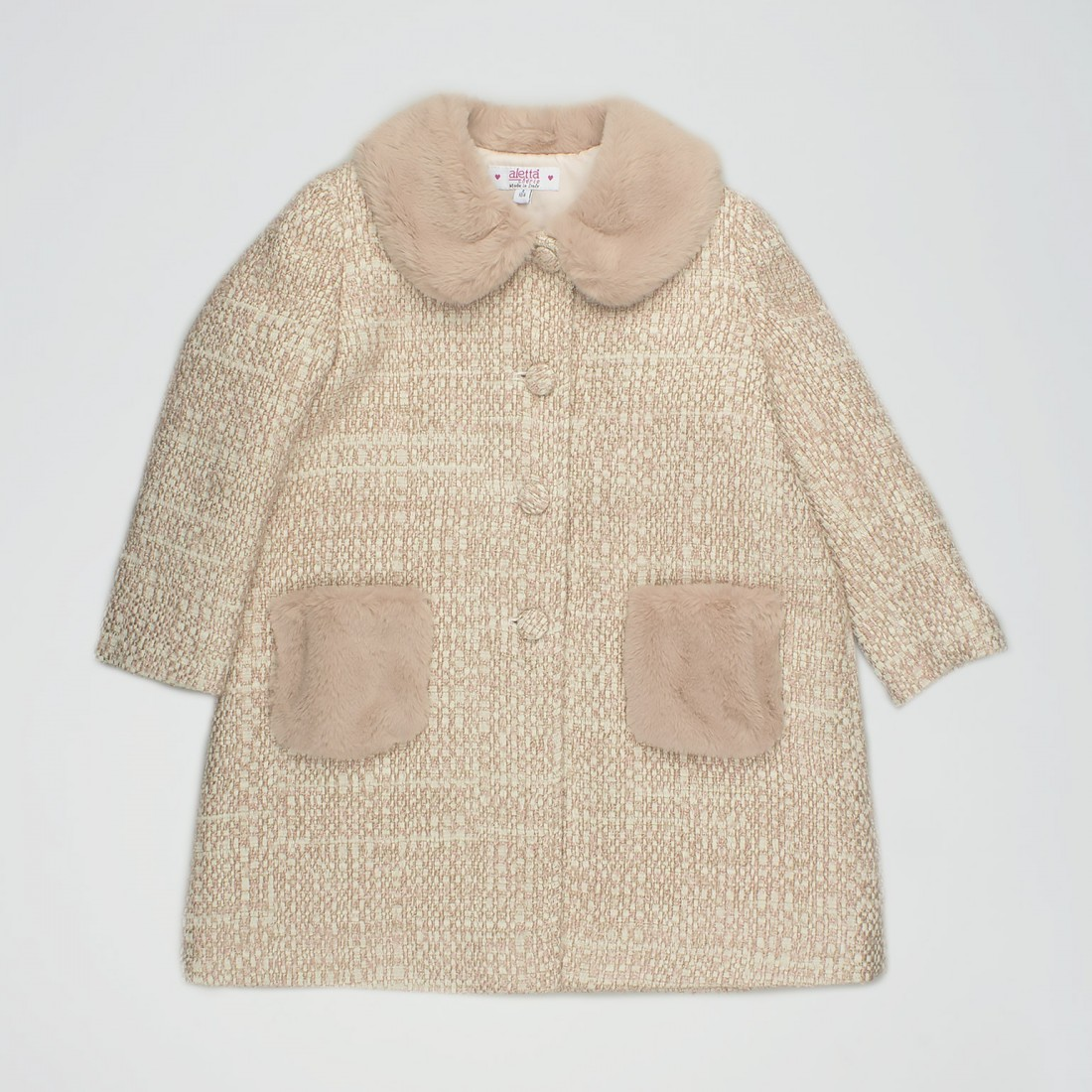 Cappotto in tweed panna e rosa pastello con eco-pelliccia