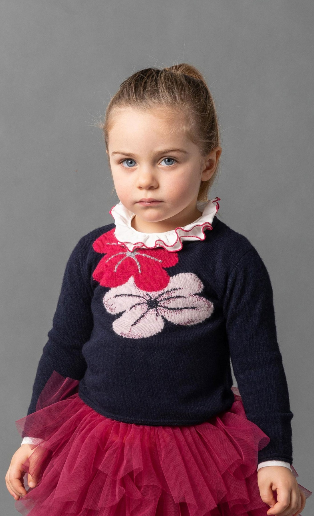 "Pullover ""flower"" in misto lana"