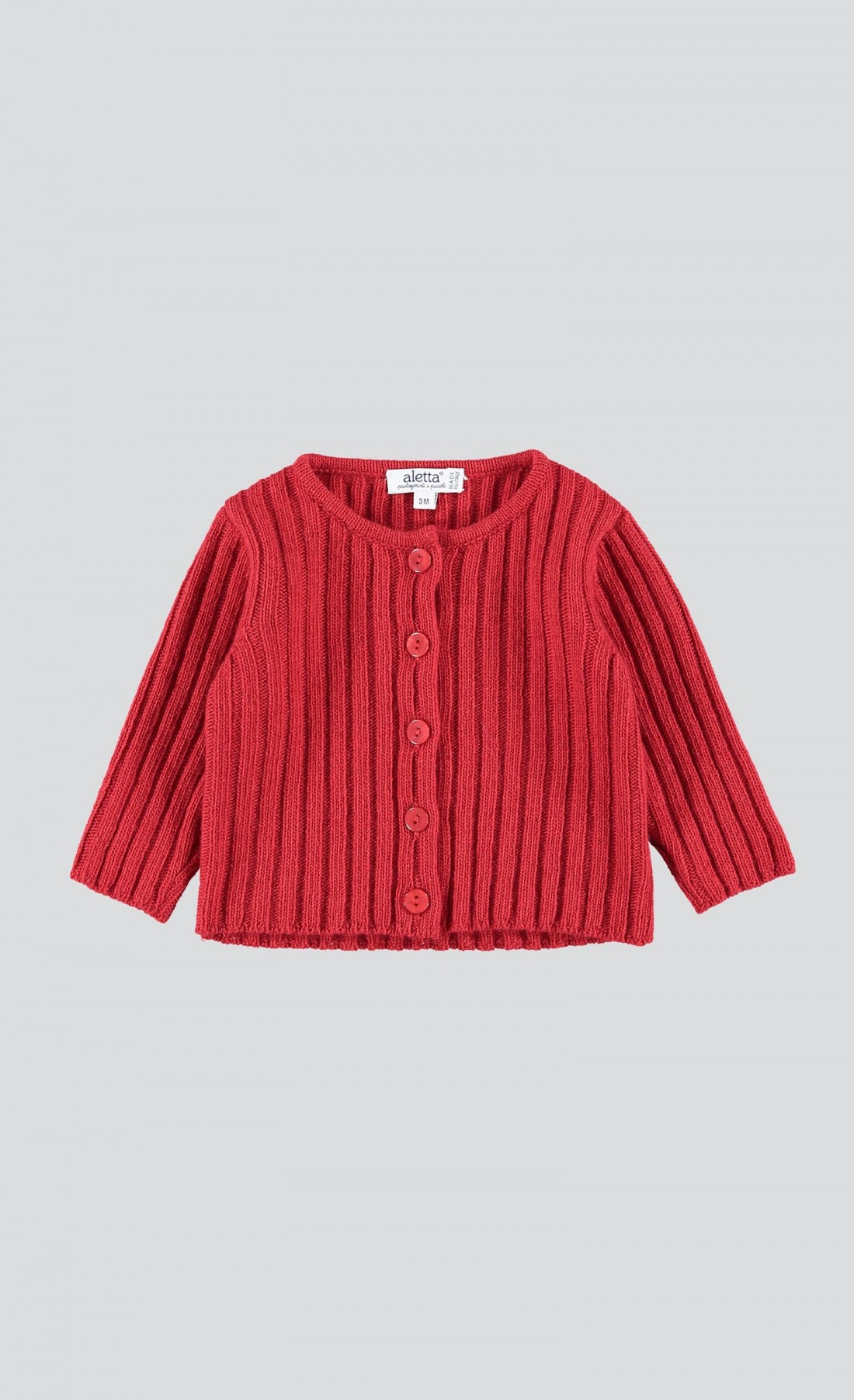 Cardigan a coste cherry red