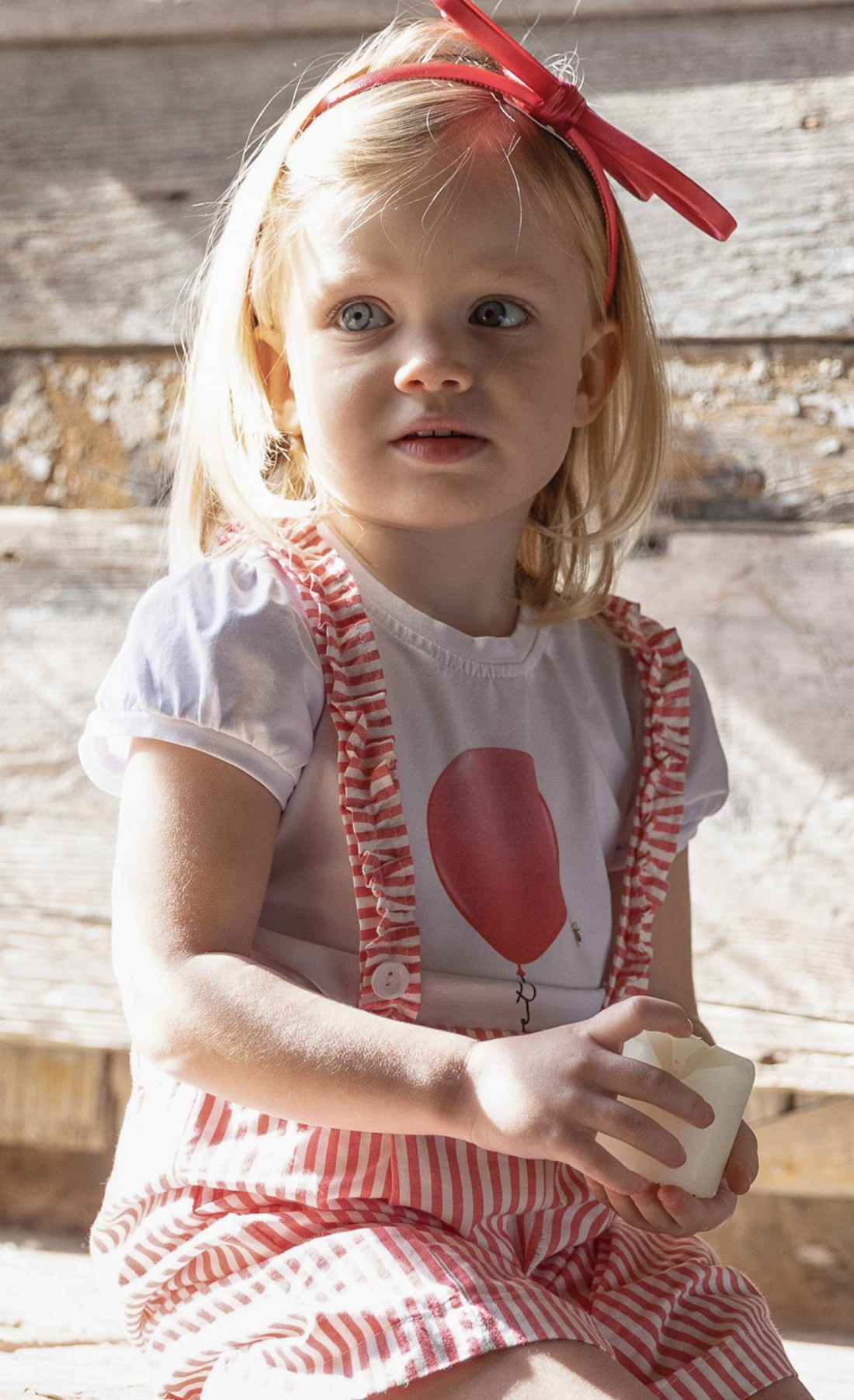 T-shirt in jersey con stampa palloncino rosso