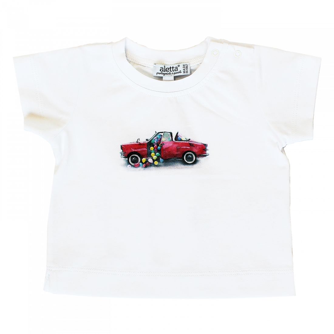 "T-shirt in cotone bianca con stampa ""red car"""