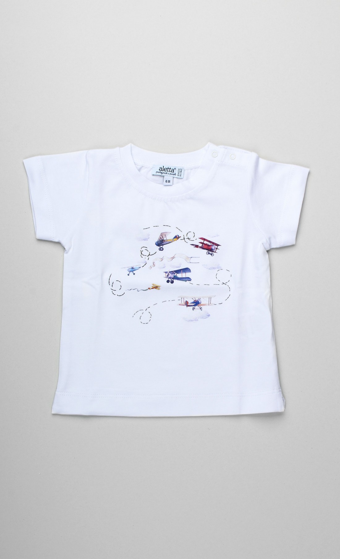 T-shirt in cotone bianco con stampa aeroplani vintage