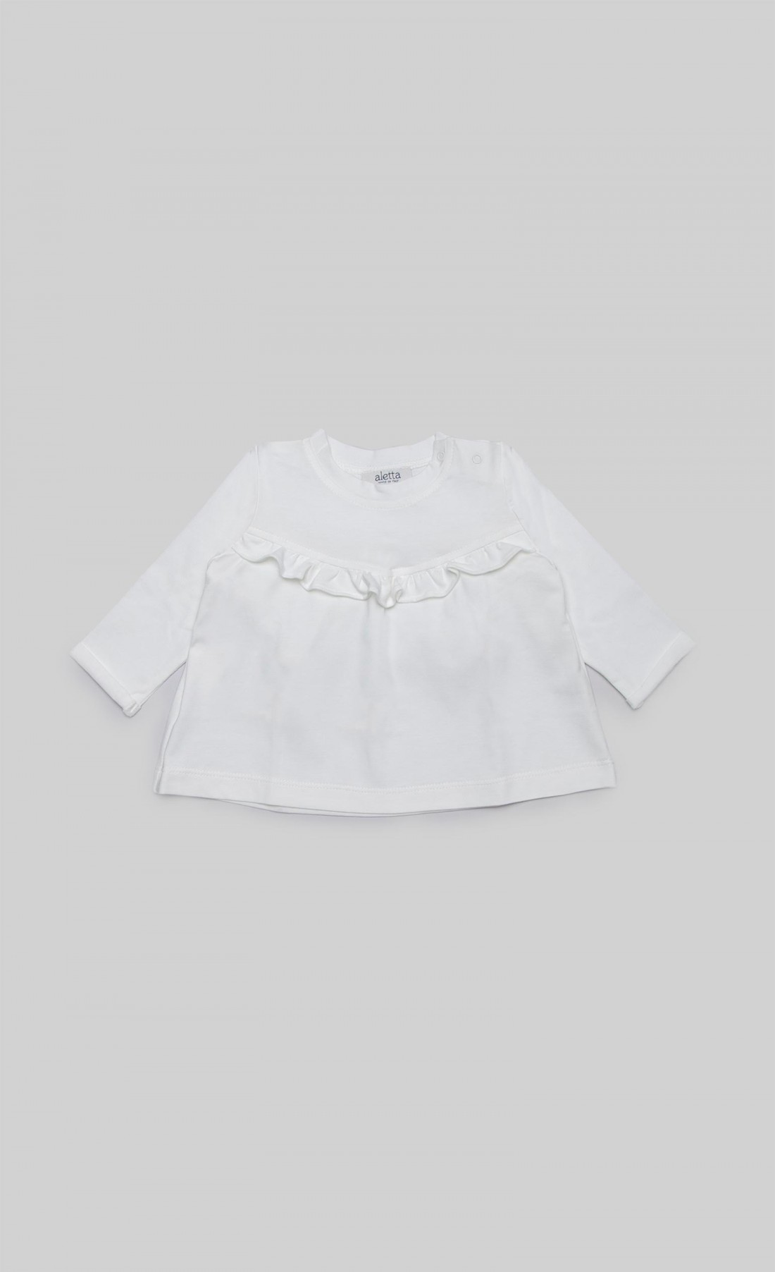 T-shirt in jersey panna con ruches