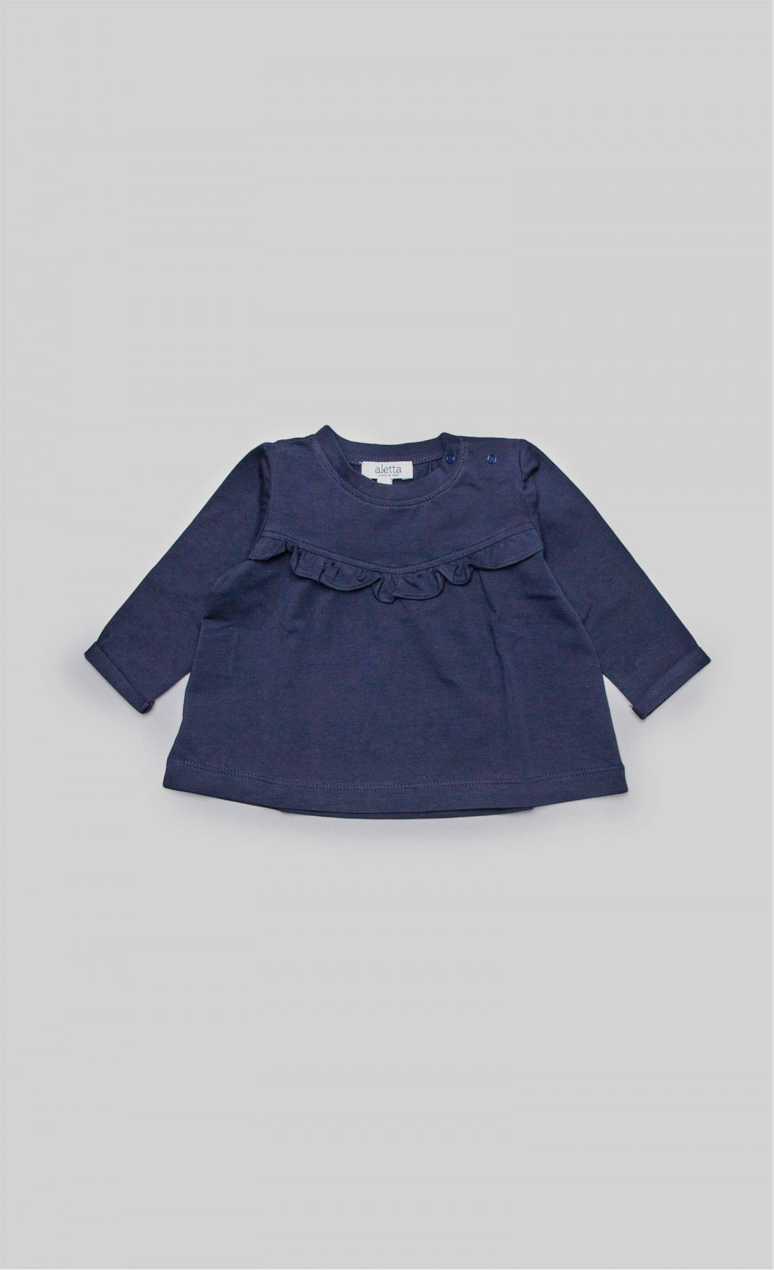 T-shirt in jersey blu con ruches