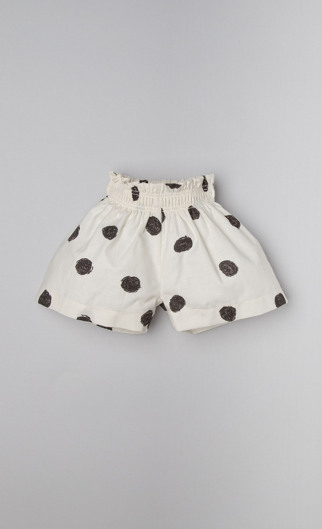Shorts in cotone panna a pois neri