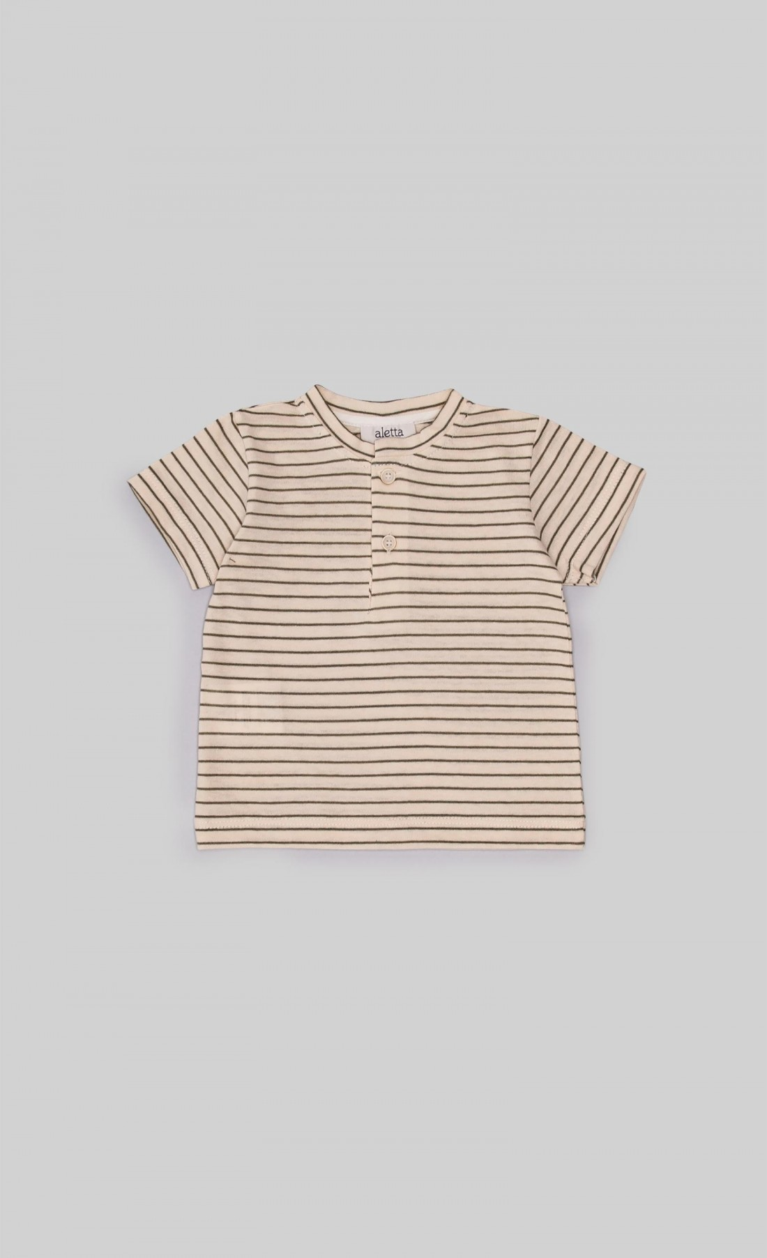 T-shirt in jersey panna con righe verde