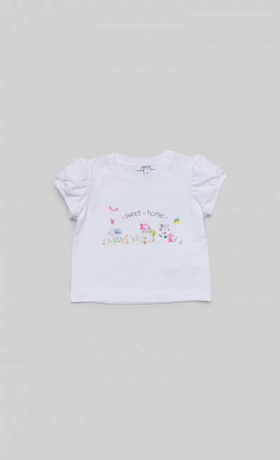 "T-shirt in jersey bianco con stampa ""Home"""