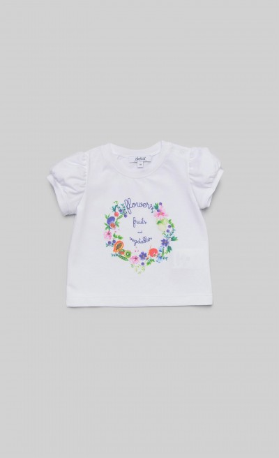 "T-shirt in jersey bianco con stampa ""Fruits"""