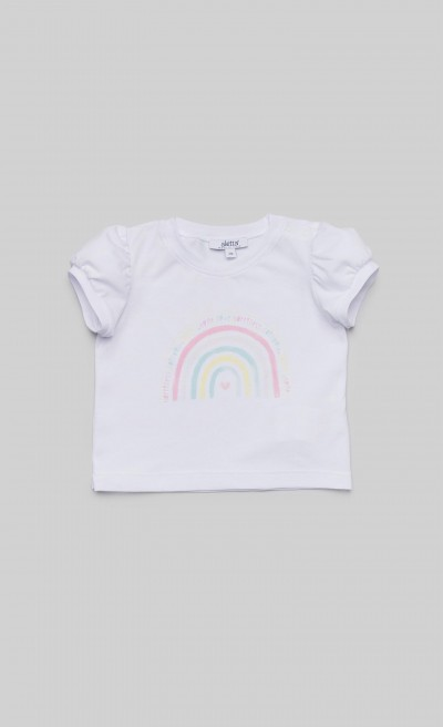 "T-shirt in jersey bianco con stampa ""Arcobaleno"""