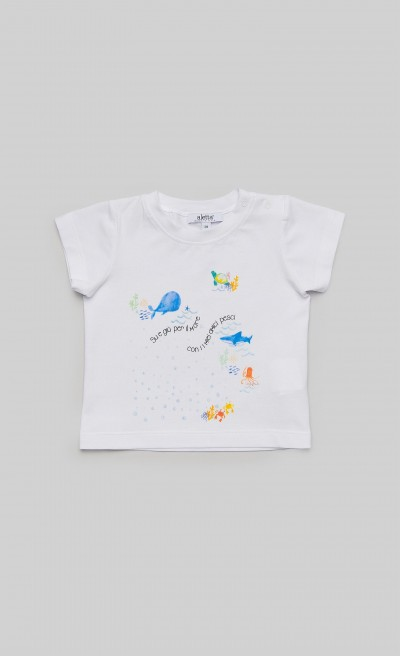 "T-shirt in jersey bianco con stampa ""Mare"""