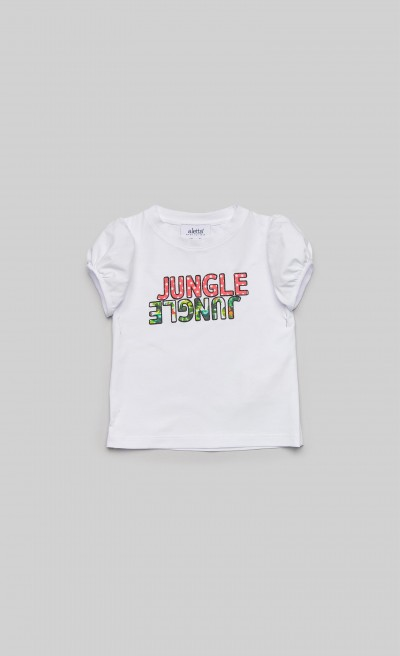 "T-shirt in jersey bianco con stampa ""Jungle"""
