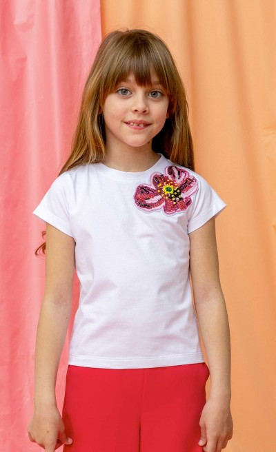 T-shirt bianca con patch papavero