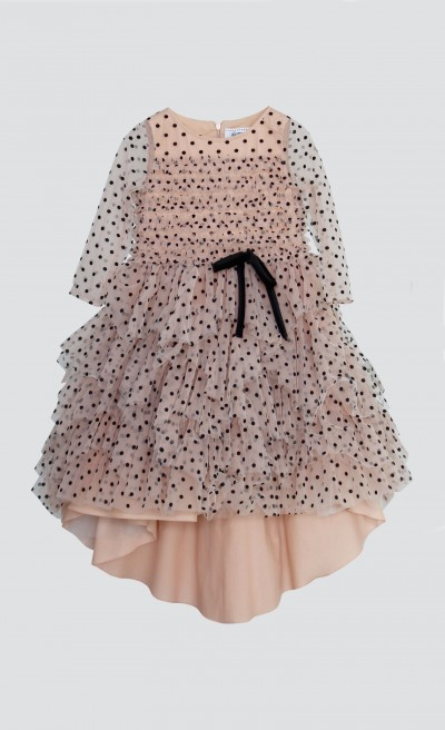 Abito phard in tulle floccato a pois