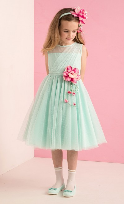 Abito in tulle plumetis tiffany
