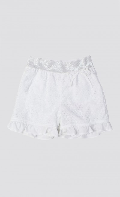 Short in sangallo bianco con volants