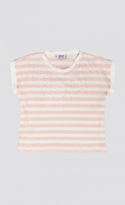 T-shirt a righe bianco e phard con strass e perline