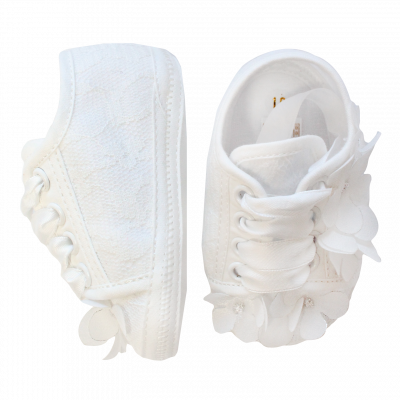Sneakers panna in tessuto con margherite applicate all-over