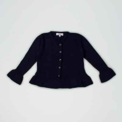 Cardigan blu notte con ruches