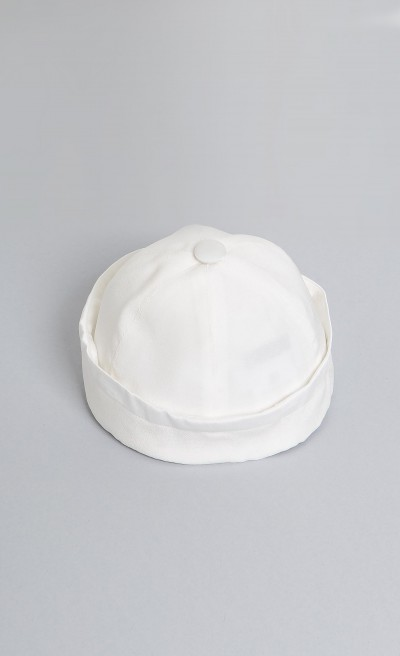 Cappello neonato in raso color panna