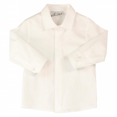 Elegante camicia in cotone stretch panna