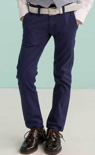 Pantaloni in cotone stretch bluette