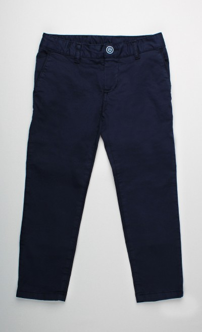 Pantaloni lunghi in cotone stretch blue navy