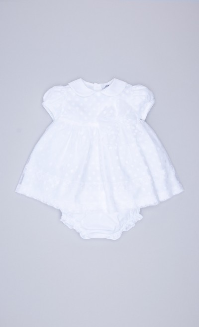 Abito con coulotte in tulle a pois bianco