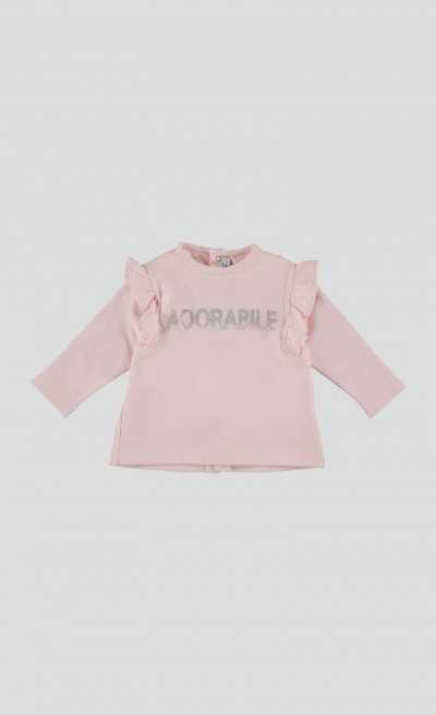 "T-shirt rosa ""adorabile"" con ruches"