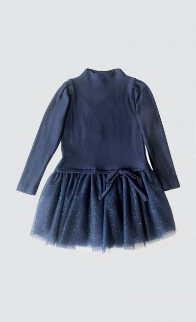 Abito total blue con gonna in tulle glittery