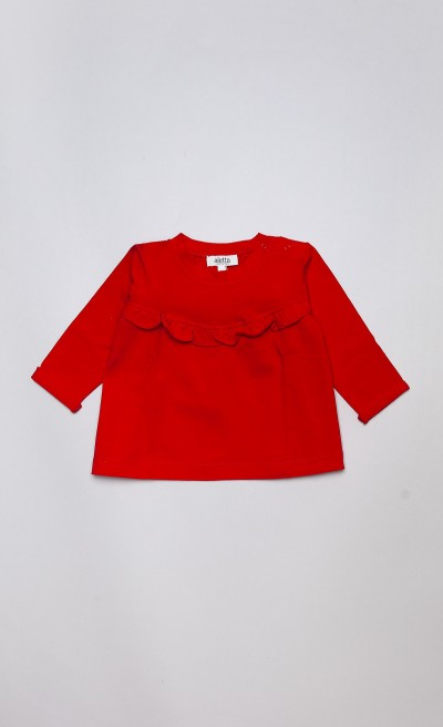 T-shirt in jersey rosso con ruches