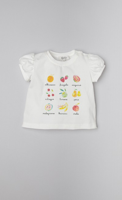 T-shirt in jersey stretch con stampa di frutta estiva e colorata