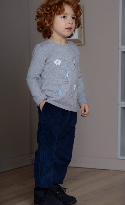 Pantaloni baggy in velluto a coste blu notte