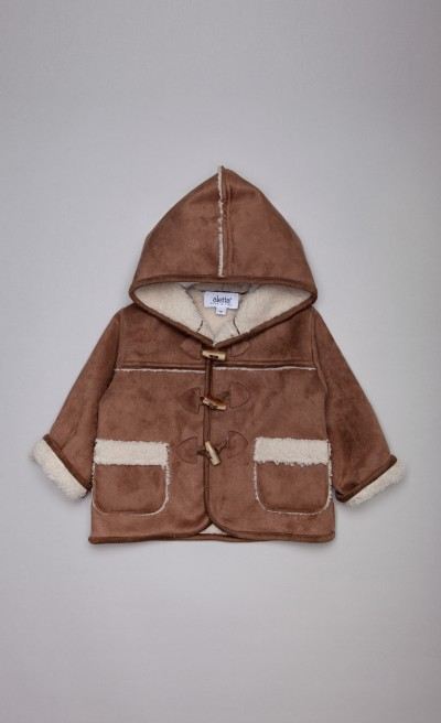 Cappotto shearling in ecopelliccia marrone