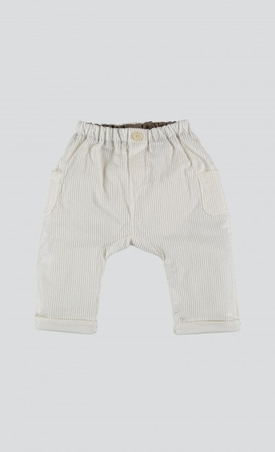 Pantaloni baggy in velluto a coste bianco