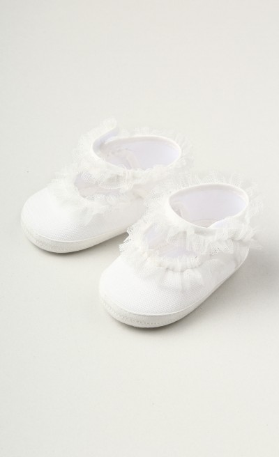 Ballerine panna decorate con ruches in tulle