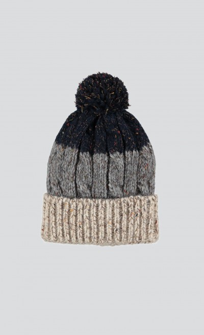Cappello color block con pon pom
