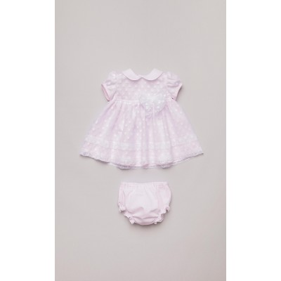 Abito con coulotte in tulle a pois rosa