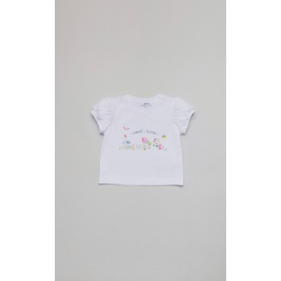 """T-shirt in jersey bianco con stampa """"Home"""""""