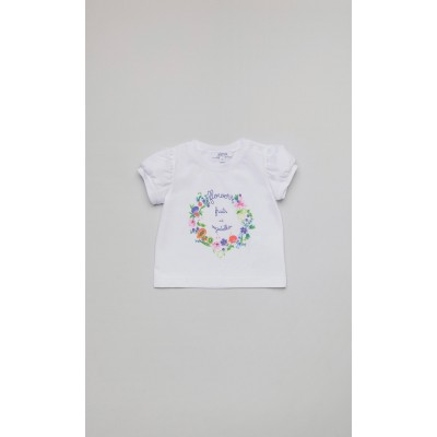 """T-shirt in jersey bianco con stampa """"Fruits"""""""