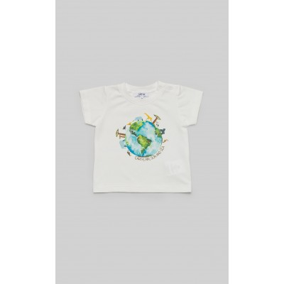 "T-shirt in jersey panna con stampa ""Earth"""