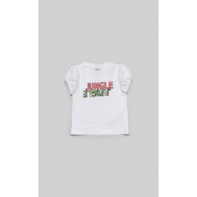 """T-shirt in jersey bianco con stampa """"Jungle"""""""