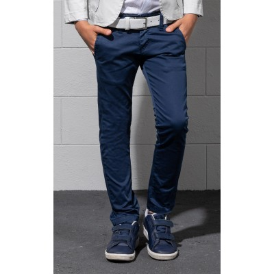 Pantaloni lunghi in cotone stretch bluette