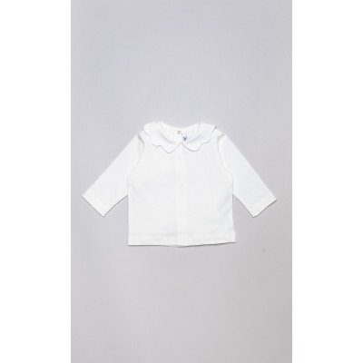 T-shirt in cotone stretch panna