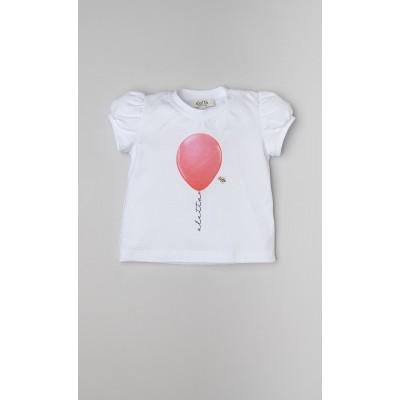 T-shirt in jersey stretch con stampa palloncino rosso