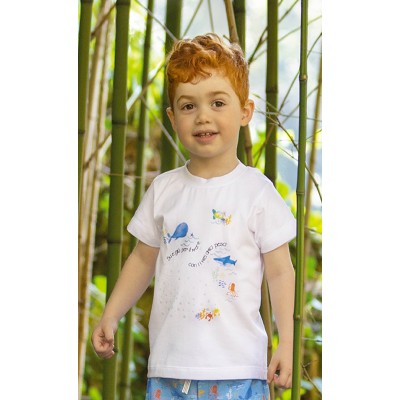 """T-shirt in jersey bianco con stampa """"Mare"""""""