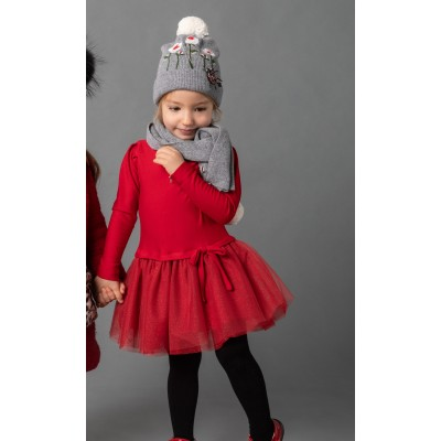 Abito total red con gonna in tulle glittery