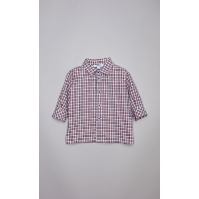 Camicia check panna e bordeaux