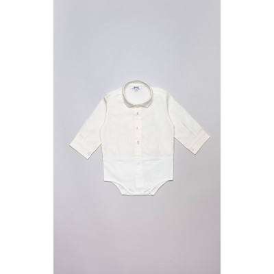 Camicia-body in cotone stretch panna